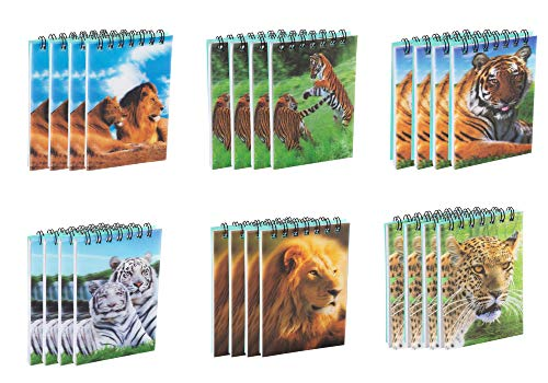 (Spiral Notepad - 24-Pack Top Spiral Notebooks, Bulk Mini Spiral Notepads for Note Taking, To-do Lists, Kids Party Favors, Lined Paper, 6 Lions and Tigers 3D Cover Designs, 2.75 x)