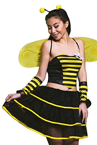 Adult Women Queen Bumble Bee Bumblebee Costume Wasp Cosplay Role Play Dress Up (Small/Medium, Black, Yellow, Gold)
