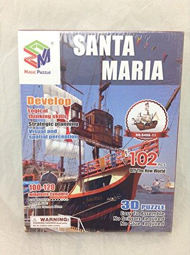 3d Puzzle Santa Maria Boats B468-11 Magic Puzzle 102 Pieces (Santa Boat Maria)