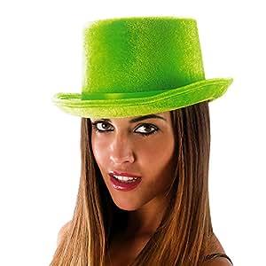 Carnival Toys 5975–Sombrero, Cilindro de terciopelo y fieltro fluorescente, Verde