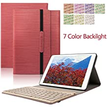 iPad Air 2 Case,Dingrich Ultra Slim Light Weight Trifold Case with Luxury Magnetic Detachable Aluminum Bluetooth Keyboard for iPad Air 2 with Auto Sleep/Wake Feature + Screen Protector + Stylus(Red)