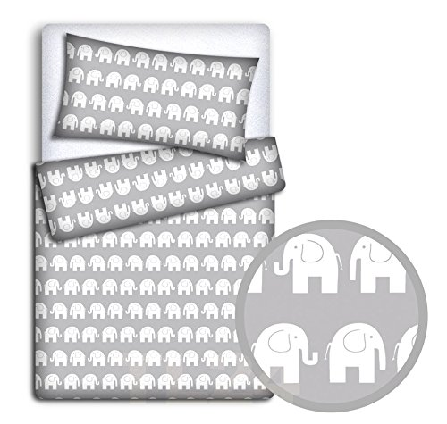 Baby Bedding Set Pillowcase + Duvet Cover 2PC to FIT Junior Bed (Elephants Grey) Babymam