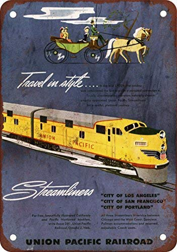 LHZJ Fashionable Metal Tin Sign 1949 Union Pacific Streamliners Wall Decor Sign 8x12 Inches