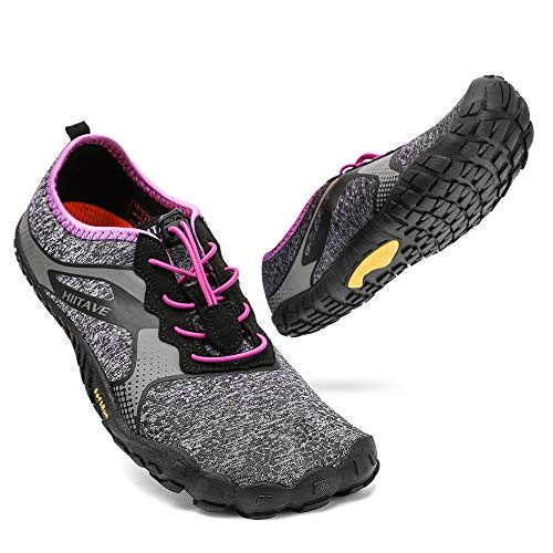 hiitave Womens Minimalist Barefoot Trail Running Shoes Wide Toe Glove Cross Trainers Hiking Shoes Black/Purple 9 US Ladies