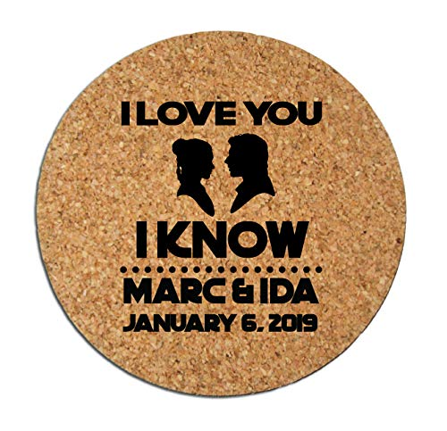 Star wars wedding favors, personalized wedding coasters, cork coasters with an