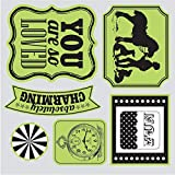 Sizzix Echo Park Framelits Die Cutting Template and Clear Acrylic Stamp Set This and That Charming (4 Pack)