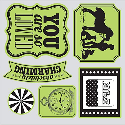 Sizzix Echo Park Framelits Die Cutting Template and Clear Acrylic Stamp Set This and That Charming (4 Pack) by Generic (Image #1)