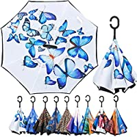 Reverse Umbrella, Inverted Umbrella, Umbrella Windproof, Upside Down Umbrella, Inside Out Umbrella with C-Shaped Handle from ARDECO