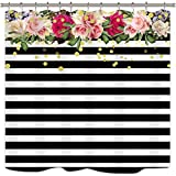 Black White and Pink Shower Curtain Cdcurtain Flower Shower Curtain Panel Black and White Stripe Floral Wedding Rose Pink Herbs Decor Fabric Set Polyester Waterproof 72x72 Inch Free 12-Pack Plastic Hooks
