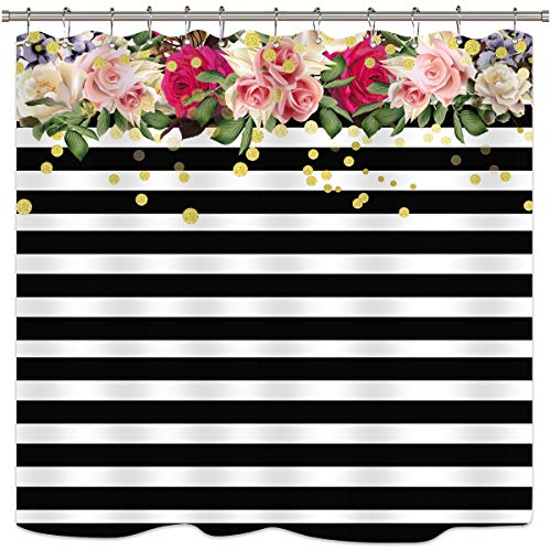 Cdcurtain Flower Shower Curtain Panel Black and White Stripe Floral Wedding Rose Pink Herbs Decor Fabric Set Polyester Waterproof 72x72 Inch Free 12-Pack Plastic - Curtain Shower Stripe 3