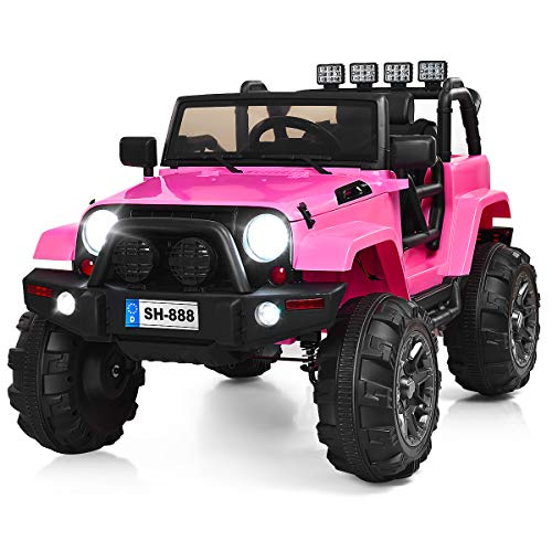 (Costzon Ride On Truck, 12V Battery Powered Electric Ride On Car w/ 2.4 GHZ Bluetooth Parental Remote Control, LED Lights, Double Doors, Safety Belt, Music, MP3 Player, Spring Suspension (Pink))