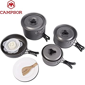Outdoor Tablewares Campcookingsupplies Portable Outdoor Cookware Aluminum Non-stick Pot Cooking Frying Pan Camping Picnic Hiking Utensils With Carry Bag Big Size Elegant In Style