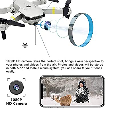 Drones with Camera 1080P HD, Global Drone GD88 PRO, Selfie Pocket Drone with Altitude Hold, One Key Take Off/Landing, Wi-Fi FPV Quadcopter Drones for Adults, Beginners-(3PCS Batteries)