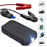 Portable Car Battery Jump Starter Pack - Charger with Jumper Cables, Emergency Kit for Engines Up to 3L Gas, Phone Power Bank, Smart Charging Port, LED Flashlight, Cargador de Bateria