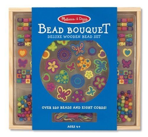 Mini Wooden Bead Set - Melissa & Doug Wooden Deluxe Bead Accessory Creation Set & 1 Scratch Art Mini-Pad Bundle (04169)