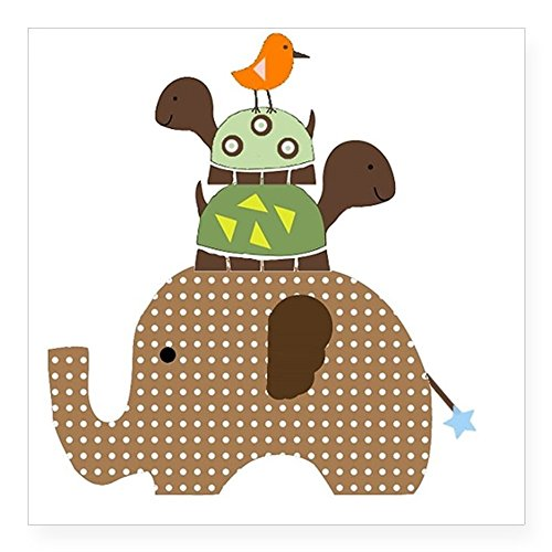 CafePress Brown Elephant with Stacked Square Sticker 3