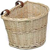 OYPEIP Front Handlebar Adult Wicker Bike Basket D-Shaped Water Resistant Cargo with Leather Straps