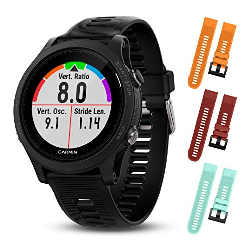 Garmin Forerunner 935 010-01746-00 and Three Additional Wearable4U Quick Release Silicone Watch Bands Bundle (Orange/Cherry Red/Teal)