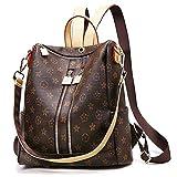 Designer Leather Backpack Purse for Women, Fashion PU Leather Shoulder Bag Handbags (Double Zipper Closure)