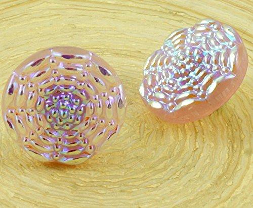 1pc Handmade Czech Glass Button Flower Wave Circle AB Pink Opal Size 6 13.5mm