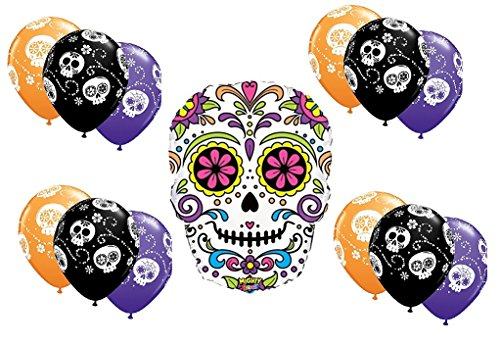 Day of The Dead Sugar Skull Party Balloons Latex and Foil Value Pack (Value Pack)