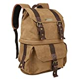 Evecase Water Resistant Canvas DSLR Camera and School Backpack Rucksack w/Rain Cover and Removable Camera Insert for Nikon, Canon, FujiFilm, Olympus, and More Digtal SLR Camera - Brown