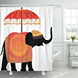 TOMPOP Shower Curtain Umbrella Decorated Indian Elephant Bollywood India Waterproof Polyester Fabric 72 x 72 inches Set with Hooks