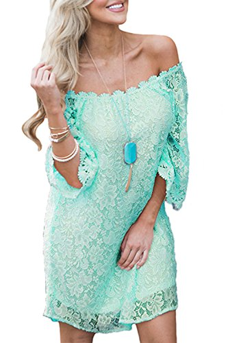 Pink And Green Lace Dress - 5