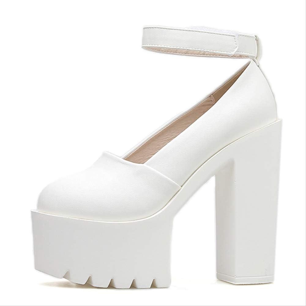 ACWTCHY Platform Shoes Woman Heels Black Withe Shoes Women Pumps Ladies Shoes white shoes
