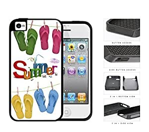 Colorful Summer Time Flip Flops Hanging on Clothing Line 2-Piece High Impact Dual Layer Black Silicone Cell Phone Case iPhone 4 4s