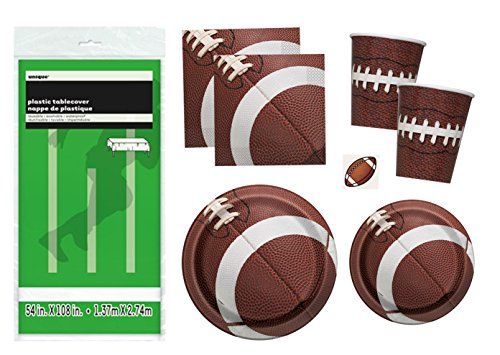 Football-Party-Supplies-Pack-Serves-16-Plates-Cups-Napkins-and-Tablecloth-for-Game-Day-or-Birthday