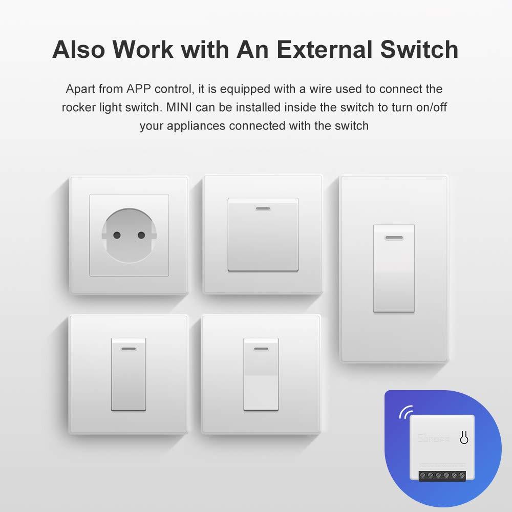 SONOFF MINI Interrupteur Connect/é WiFi 2 Voies Commutateur Intelligent 2PCS,Compatible avec Alexa//Google Home//Nest//IFTTT,Contr/ôle /à Distance,Commande Vocale,Fonction de Temps,Supporte le contr/ôle LAN
