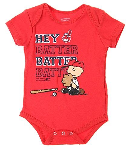 MLB Cleveland Indians Baby Boys Infants Peanuts Love Baseball Creeper, Red