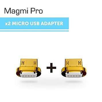 DigitalOME® Magmi Pro Pack de dos pines con imán magnético para cable Micro Usb 2.0 cargador para Samsung, Sony, Xiaomi, LG, HTC… - (2xPin MicroUSB)