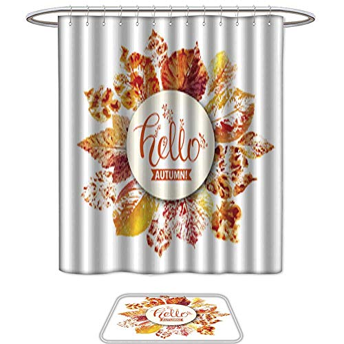 UHOO Shower Curtain and Mat SetAutumn Season Banner Greeting Card with Inscription Hello Autumn and Hand Drawn Watercolor Fall Leaves Set of 2 Machine Washable