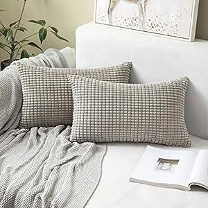 MIULEE Housses de Cousssin en Polyester Doux Granulés Carré Taies d'oreiller avec Grands Granules décoratifs Solid pour…