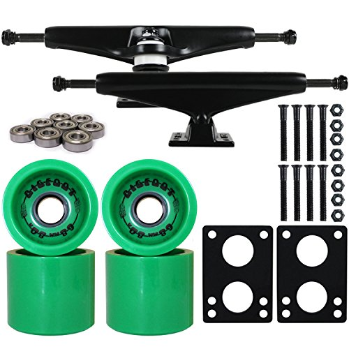 Longboard Skateboard Trucks Combo Set 68mm Bigfoot Boardwalk Wheels with Black Trucks, Bearings, and Hardware Package (68mm Green Wheels, 6.0 (8.63