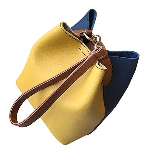 (Hot Sales!! ZOMUSA Fashion Women Leather Wide Handbag Patchwork Shoulder Crossbody Bucket Bag)