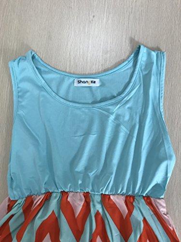 Wave Long Mai Zag Small Tank Neck Zig shangke Dress Scoop Blue Striped Women's q61XnwzA
