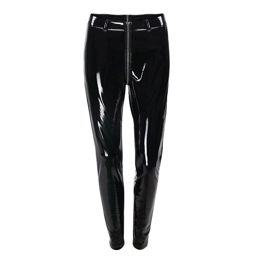 ea79e7efdc Sorrica Women s Sexy Shiny Faux Leather Gothic Punk Wet Look Legging Pants  Front Zipper at Amazon Women s Clothing store