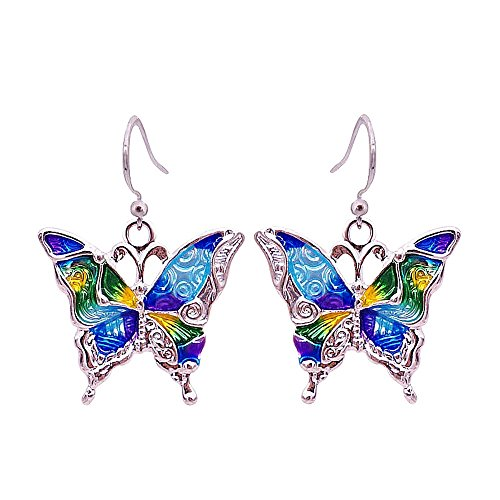 Enamel Butterfly Earrings - 4