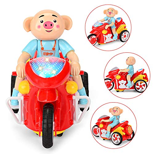 Wffo Cute Pig Music Light Toy, Three-Wheel Motorcycle Model for Baby Kids Children (Colorful) for $<!--$8.39-->