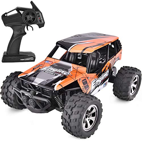 SIMREX A231 RC Cars High Speed 20KM/H Scale RTR Remote Control Brushed Monster Truck Off Road Car Big Foot RC 2WD Electric Power Buggy W/2.4G Challenger Orange (Sound Truck Monster)