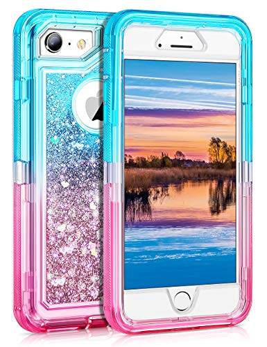 Coolden Case for iPhone 6S Plus Case Protective Glitter Case for Women Girls Cute Bling Sparkle Heavy Duty Hard Shell Shockproof TPU Case for 5.5 Inches iPhone 6 Plus 7 Plus 8 Plus, Aqua Pink