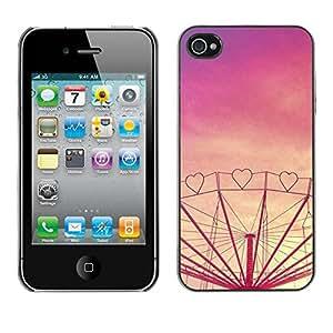 rígido protector delgado Shell Prima Delgada Casa Carcasa Funda Case Bandera Cover Armor para Apple Iphone 4 / 4S /Purple Sunset Fair Amusement/ STRONG