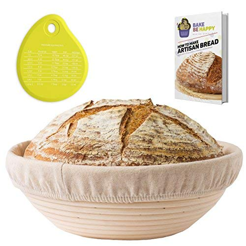 (Banneton Proofing Basket Set - Round Brotform 10 Inch Kit for Professional and Home Bakers - Natural Cane Rattan Sourdough Bread Bowl Kit Linen Liner Cloth Silicone Scraper and eBook)