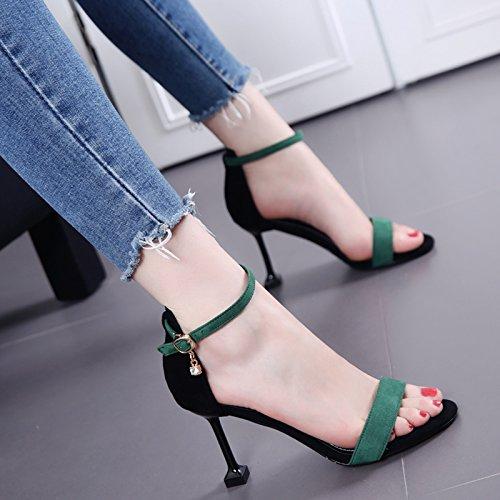 Toe Un De Heels À La Sandales Sandales Fine Boucle Couleur unie La Femme SHOESHAOGE Fuite Mode Talon Mot YIqPPxz