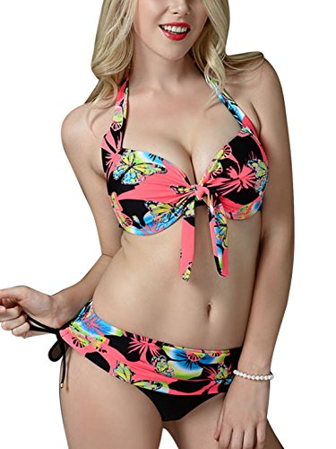 Feoya Bañador Estampado para Mujer Bikini de 2 piezas Elástico Traje de Baño Verano Rosa