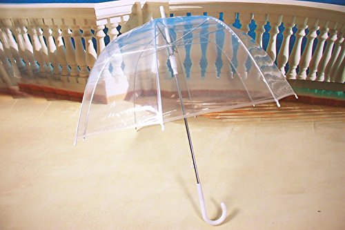 Melife® 1 Piece Creative Fashion Automatic Long Handle Transparent Umbrella (Transparent)