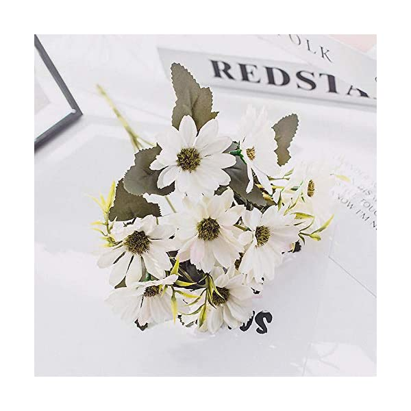 yuanyuxi European Cosmos Autumn Color 5 Fork Small Daisy Plastic Simulation Juan Bouquet Decorative Artificial Flower Wedding Party Decoration Flower@White
